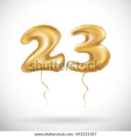 Vector 23 Birthday Celetion Gold Balloons Stock Vector ... on