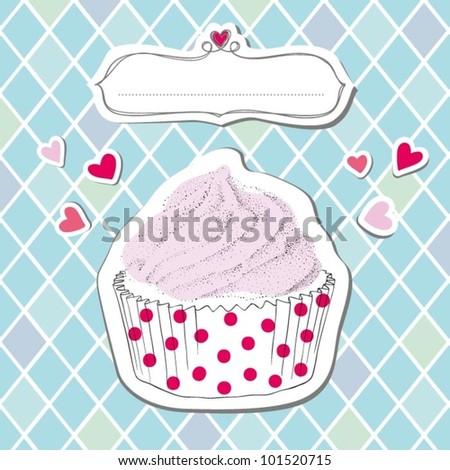 Vector Birthday Cupcake - stock vector