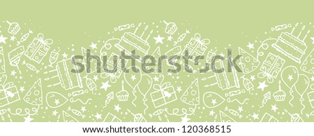 Vector birthday doodle horizontal seamless pattern ornament background with hand drawn party elements. - stock vector