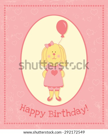vector birthday greeting card template: cute shy bunny wearing a pink dress and hiding a gift - pink baloon behind his back - stock vector