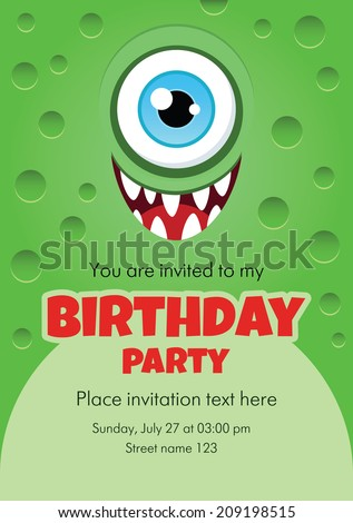Vector birthday invitation card with funny cartoon monster. Some blank space for your text included. - stock vector