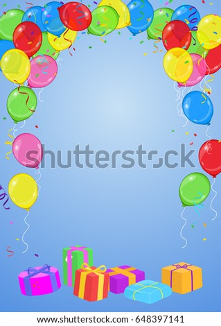 Vector birthday party invitation card balloons stock vector vector birthday or party invitation card with balloons streamers confetti and presents on blue stopboris Image collections