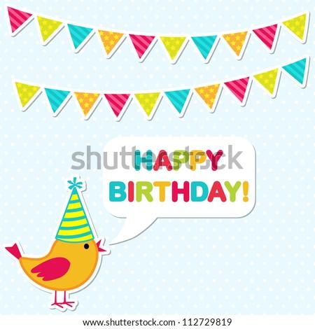 Vector birthday party card with cute bird - stock vector