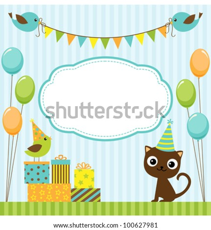 Vector birthday party card with cute birds and cat - stock vector