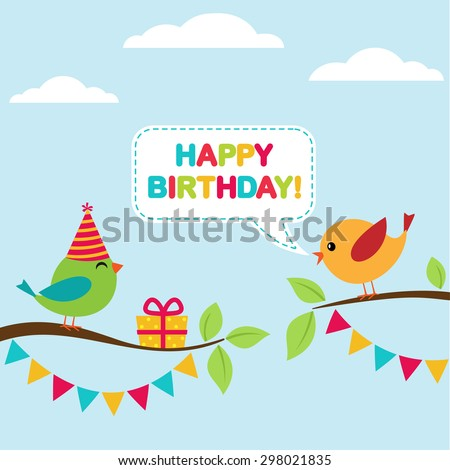 Vector birthday party card with cute birds sitting on branches - stock vector