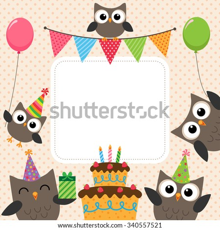 Vector birthday party card with cute owls - stock vector