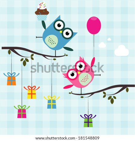 Vector birthday party card with cutes owl on trees - stock vector