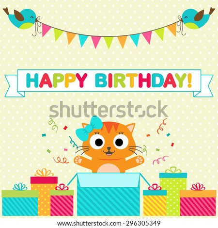Vector birthday party card with funny birds and cat - stock vector
