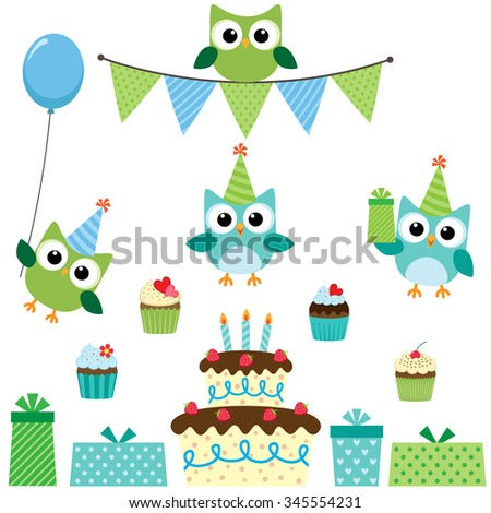 Vector birthday party set with cute owls in blue for boys - stock vector
