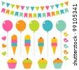 Vector birthday set - stock vector