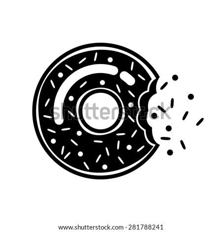 Vector bitten donut icon - stock vector