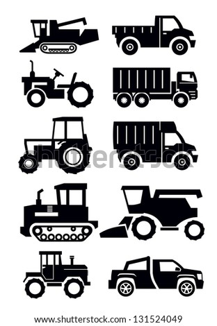 vector black agricultural transport icons set on white - stock vector