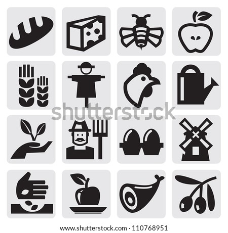 vector black agriculture and farming icons set - stock vector