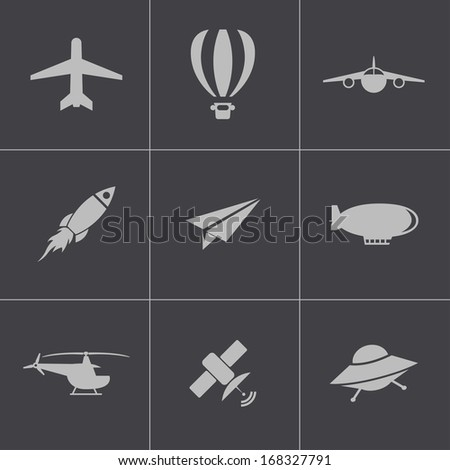 Vector black airplane icons set - stock vector
