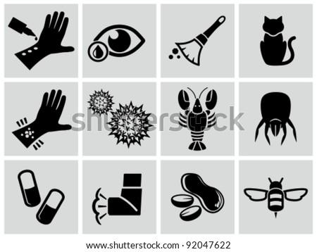 Vector black allergies icons set. - stock vector