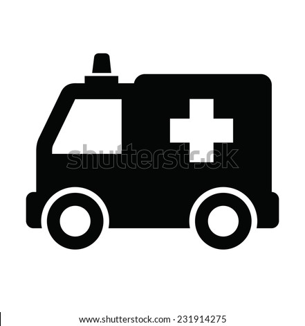 vector black ambulance icon on white background  - stock vector