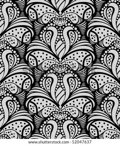 Vector black and gray decorative seamless floral ornament - stock vector