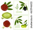 Vector black and green olives. Sealing wax 100% oil olive. - stock vector