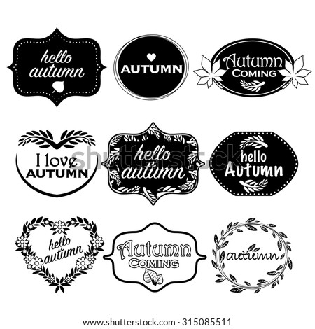 vector black white autumn labels stock vector royalty free