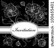 Vector black and white background (invitation) with gentle peony flowers - stock vector