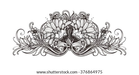Vector Black And White Background With Flowers Floral Pattern Design