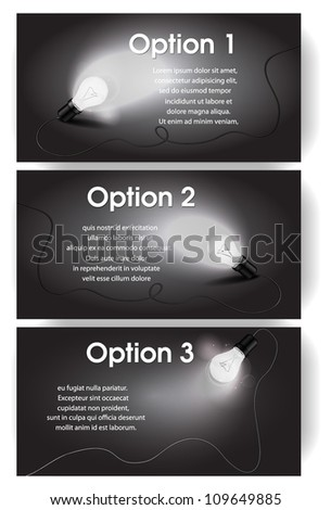 Vector black and white banners for text with light bulb - stock vector
