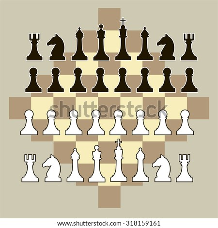 Vector black and white chess pieces on a beige background with chessboard