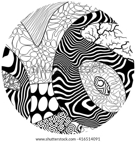 Vector black and white circle illustration