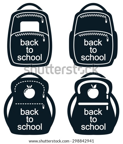 vector black and white collection of school backpack icons - stock vector