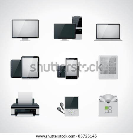 Vector black and white computer and electronics icon set. Includes desktop PC, monitor, laptop, tablet, smartphone, printer - stock vector