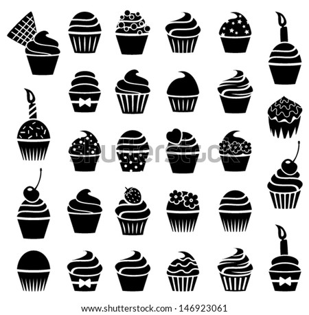 vector black and white cupcakes icons - stock vector