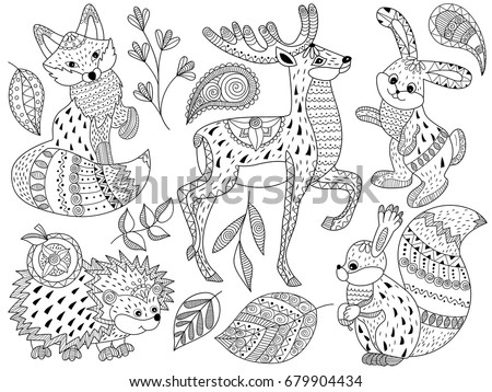 Vector Black And White Doodle Forest Animals Set Includes Squirrel Deer Fox Hedgehog