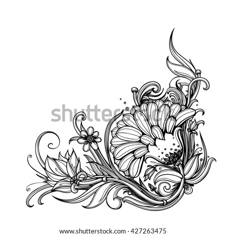 heart russian traditional floral ornament khokhloma stock