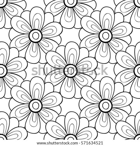Vector black white flower seamless pattern stock vector 571634521 vector black and white flower seamless pattern simple monochrome flower print floral cute doodle mightylinksfo