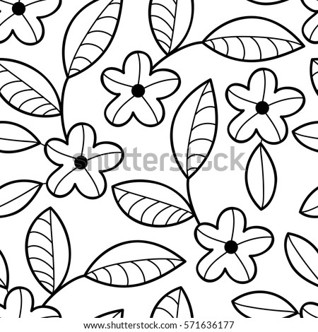 Vector black white flower seamless pattern stock vector 571636177 vector black and white flower seamless pattern simple monochrome flower print floral cute doodle mightylinksfo