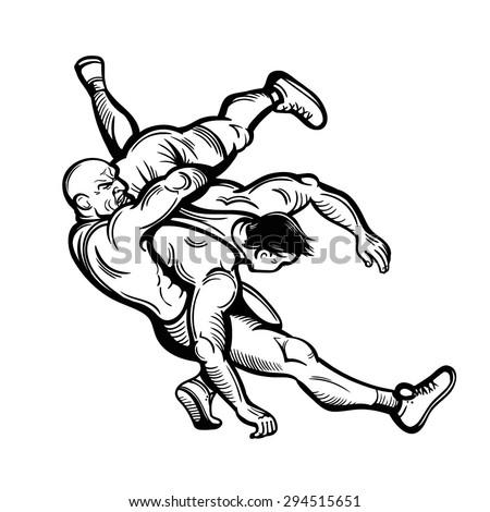 Arm wrestling clip art black and white