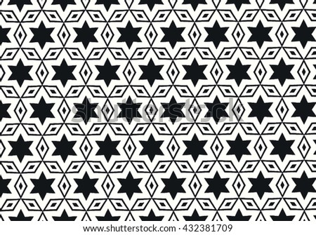 vector black and white geometric pattern background - stock vector