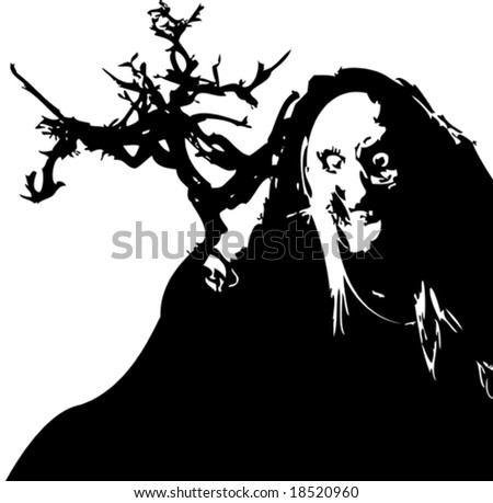 Vector black and white halloween witch - stock vector