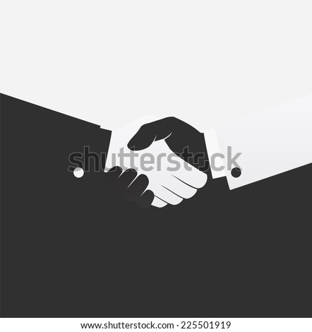 Vector black and white handshake icon - stock vector