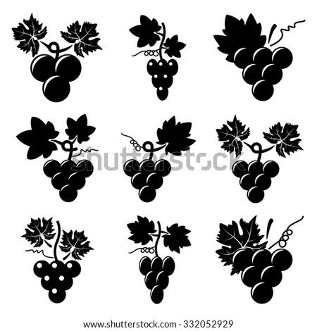 vector black and white icons of grapes - stock vector