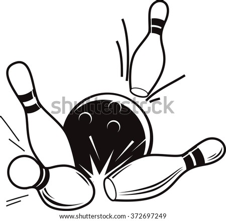 Vector black and white illustration of bowling. Bowling ball knocks down pins. - stock vector
