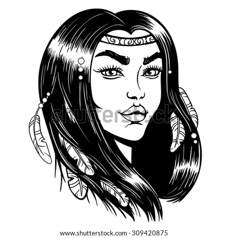 Vector Black and White Indian Woman Illustration - stock vector
