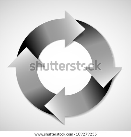 Vector black and white life cycle diagram / schema - stock vector