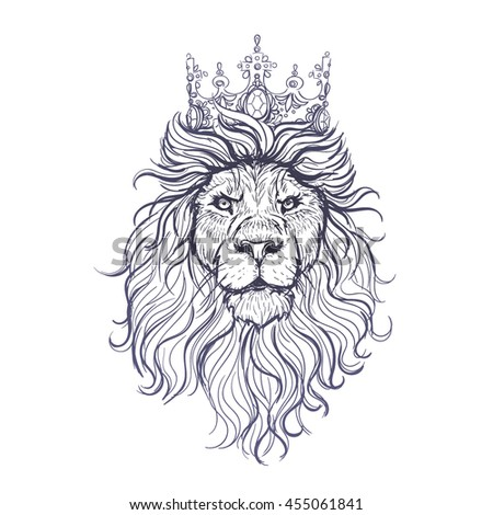 vector black white tattoo king lion stock vector 448917898