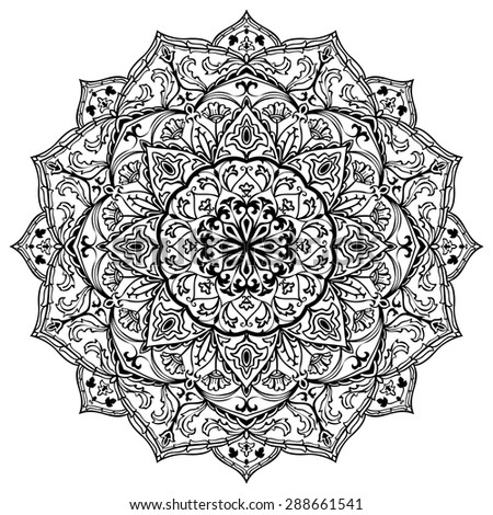 Vector black and white mandala isolated on white background. Sketch of tattoo. Circular vintage ornament. Round element of medieval pattern. - stock vector
