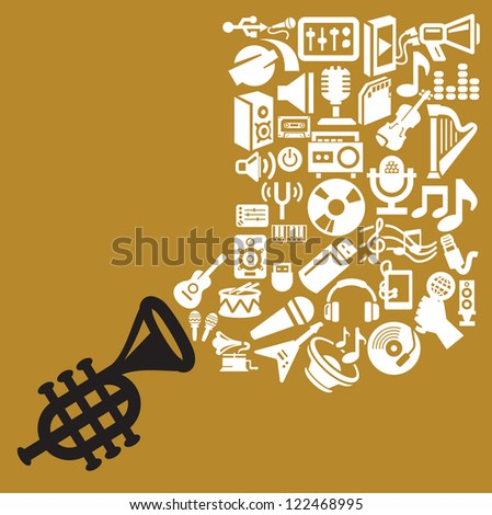 vector black and white music theme icon set - stock vector