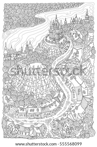 Vector black and white outline contoured fantasy landscape, trees, fairy small town buildings, street, church and garden on a white background. T shirt print. Adults and children Coloring Book page
