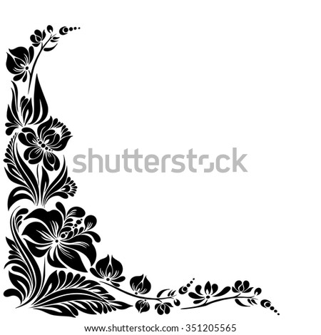 vector Black and white pattern with flowers, an ethnic Ukrainian ornament, Decorative frame for design - stock vector