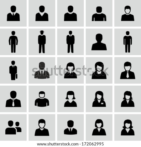 Vector black and white people icons - stock vector