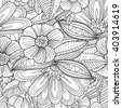 Vector black and white seamless pattern with decorative flowers and leaves in doodle line art style - stock vector